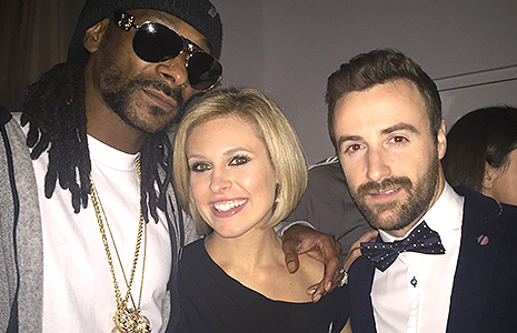 Snoop Dogg, Tessa Bonhamme, and James Hinchcliffe